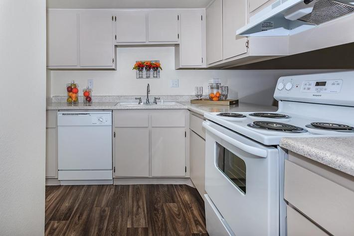 ALL-ELECTRIC KITCHEN AT CASCADE APARTMENTS IN HENDERSON, NEVADA