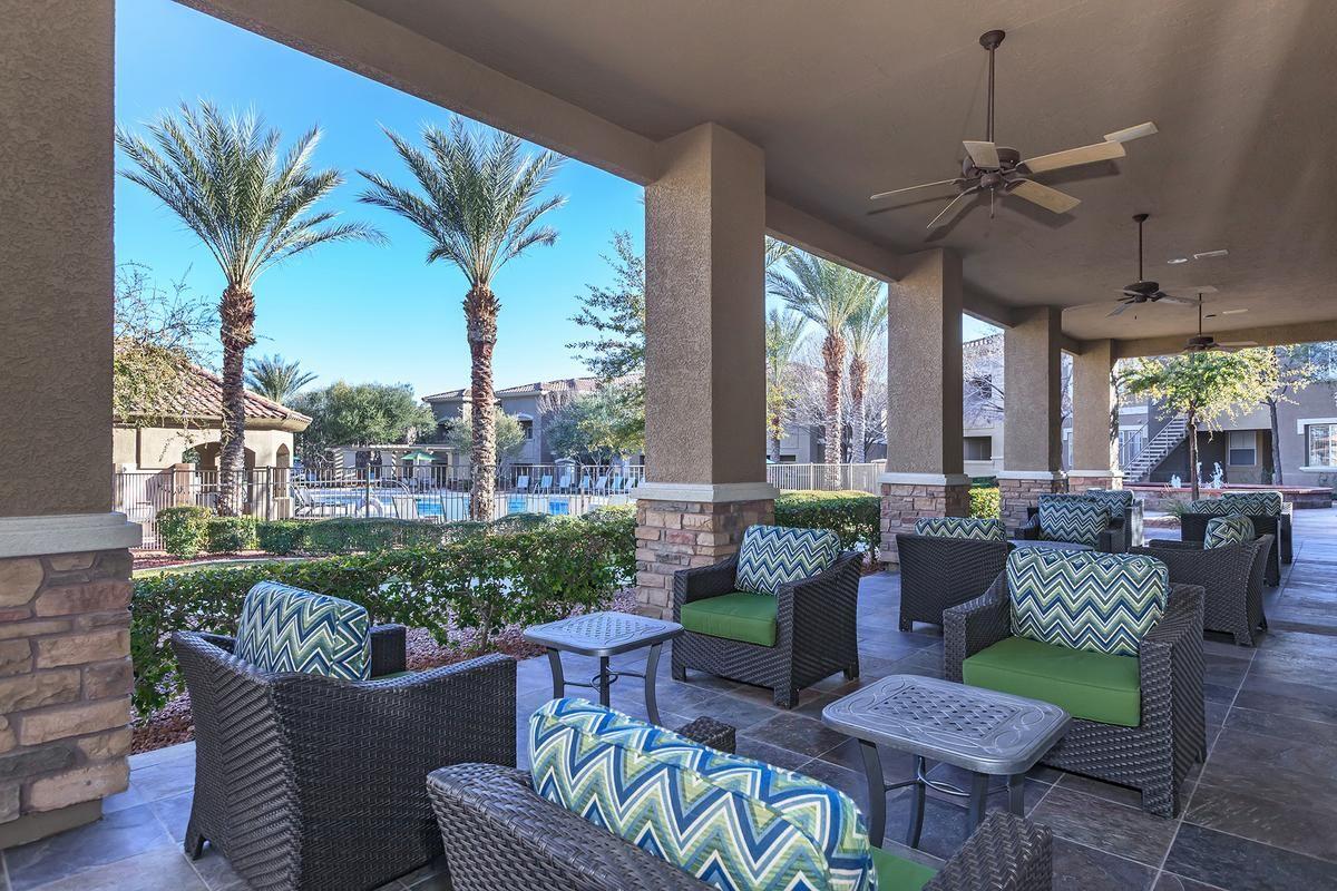 Pool Cabanas with Wet Bar at The Covington at Coronado Ranch Apartments