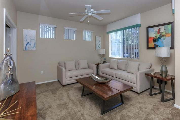 Hardwood, Tile, and Carpeted Floors Available at The Covington at Coronado Ranch Apartments