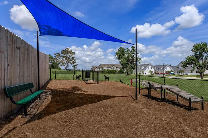 Dog park at The Townhomes at Beau Rivage in Wilmington, North Carolina.