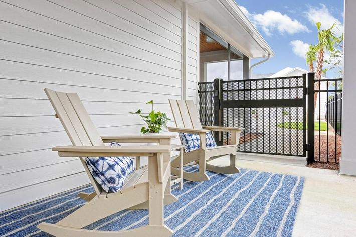 Fenced in patios at The Townhomes at Beau Rivage in Wilmington, North Carolina.