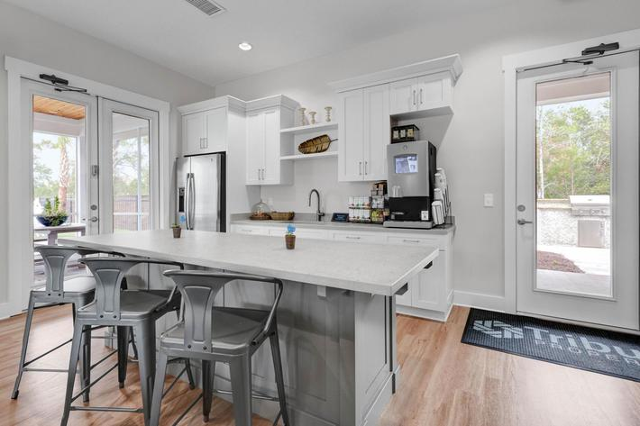 Gourmet coffee and tea bar at The Townhomes at Beau Rivage in Wilmington, North Carolina.