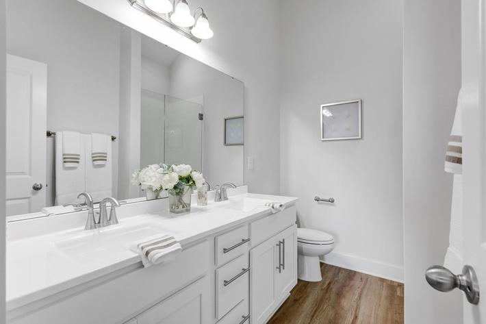 Modern bathrooms at The Townhomes at Beau Rivage in Wilmington, North Carolina.