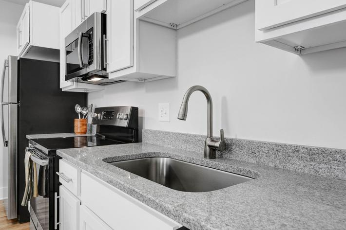 Stainless steel appliances at The Townhomes at Beau Rivage in Wilmington, North Carolina.