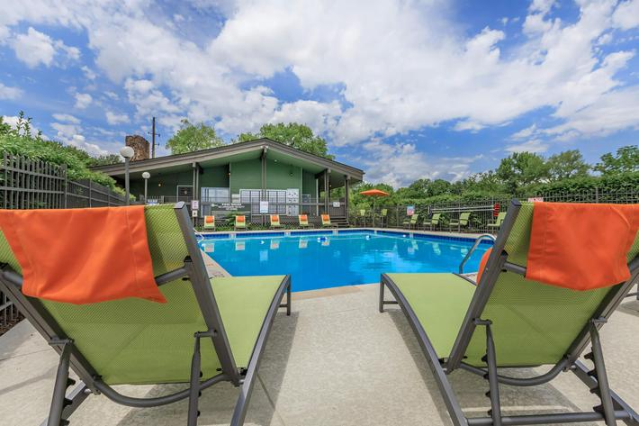 get your vitamin D in the pool area at Sunrise Apartments in Nashville, Tennessee