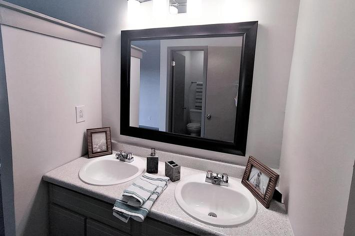 sleek bathroom at Sunrise Apartments in Nashville, Tennessee