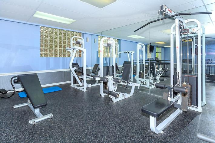 Weight Room at Trilogy Apartments in Saint Louis