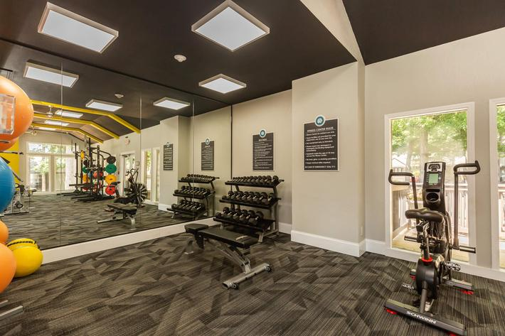 Free Weights at Madison Landing at Research Park Apartments in Madison, AL