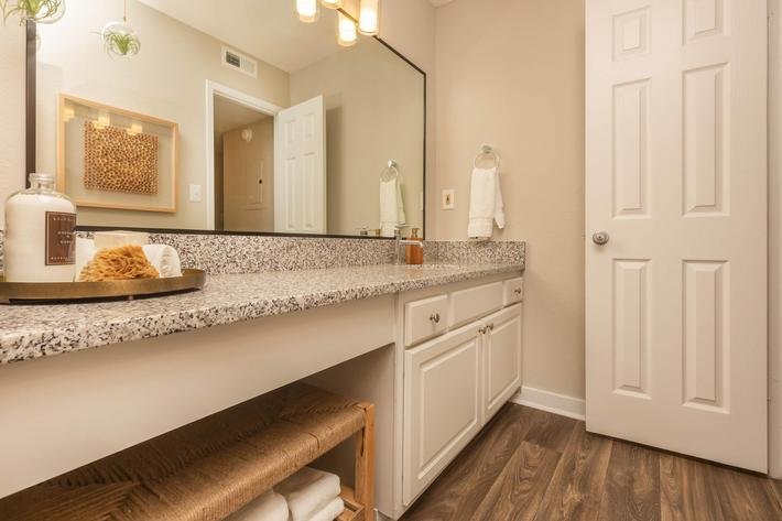 Chic Bathroom in Ansley A at Madison Landing at Research Park Apartments in Madison, AL