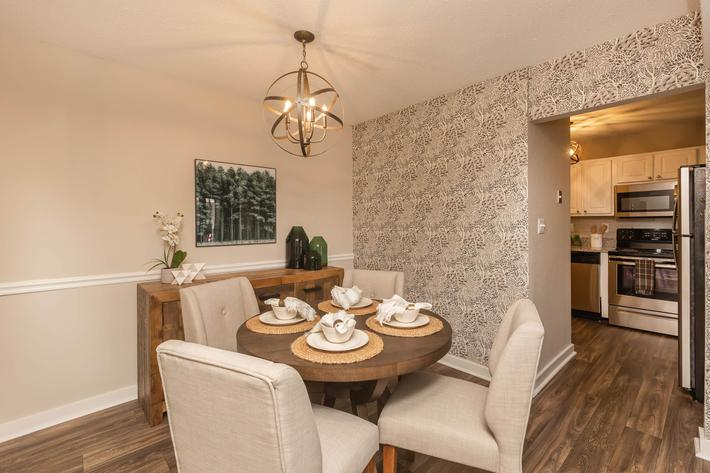 Chic Dining Room at Madison Landing at Research Park Apartments in Madison, Alabama