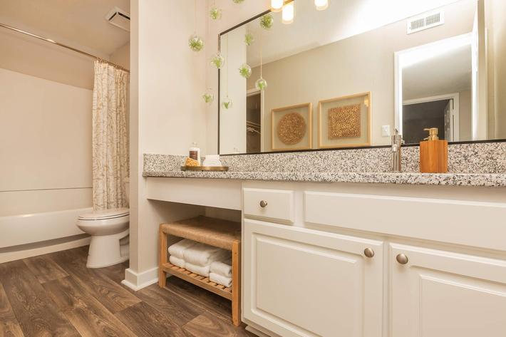 Modern Bathroom in Ansley A at Madison Landing at Research Park Apartments in Madison, AL