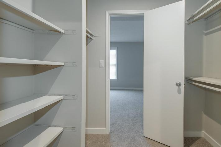 Bentley Walk-In Closet at Madison Landing at Research Park Apartments in Madison, AL