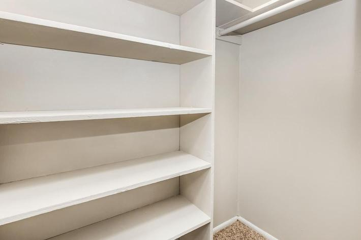 3 bed 3 bath walk-in closet here at Cross Creek Apartments in Jacksonville, Florida