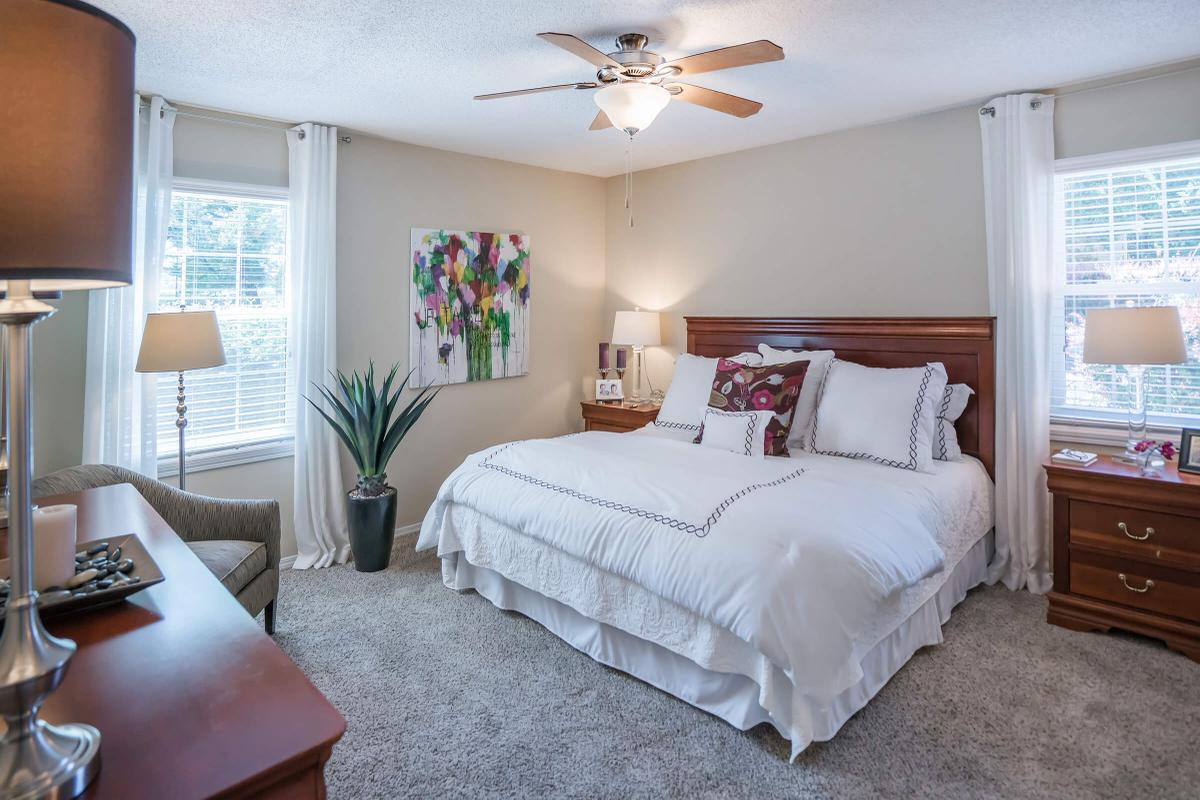 Two Bedroom Floor Plan Has Ceiling Fans with Lights
