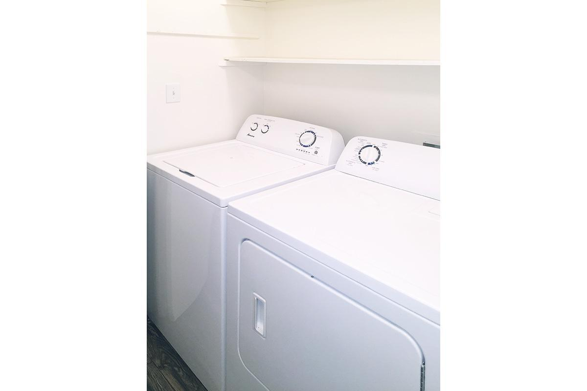 WASHER AND DRYER IN HOME AT UNIVERSITY VILLAGE AT WALKER ROAD IN JACKSON, TENNESSEE