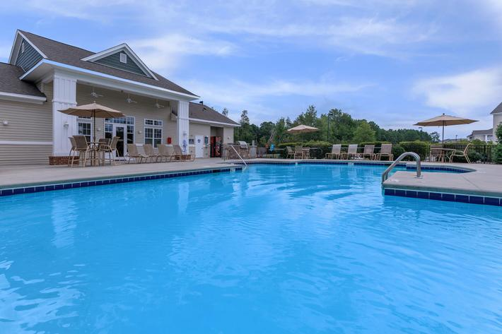 Relax by the pool at Willow Glen in Wilmington, North Carolina.