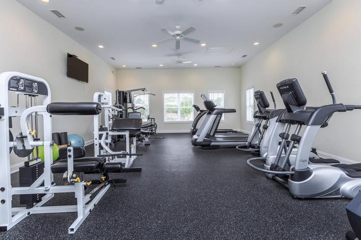 State-of-the-art-fitness center at Willow Glen in Wilmington, North Carolina.