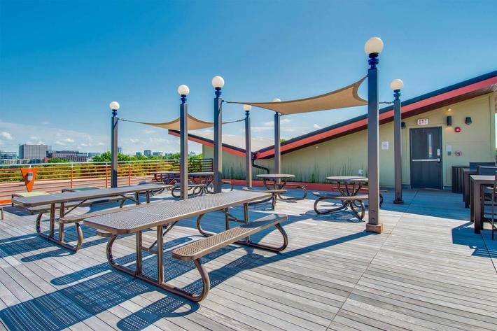 Shaded Seating on Rooftop Deck
