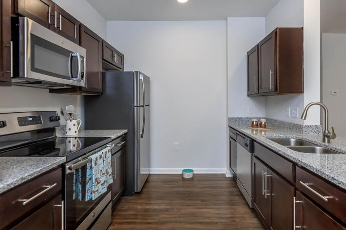 Modern Kitchen at Riverstone Apartments At Long Shoals in Arden, NC