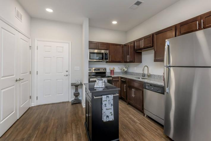 Modern Kitchen here at Riverstone Apartments At Long Shoals in Arden, NC
