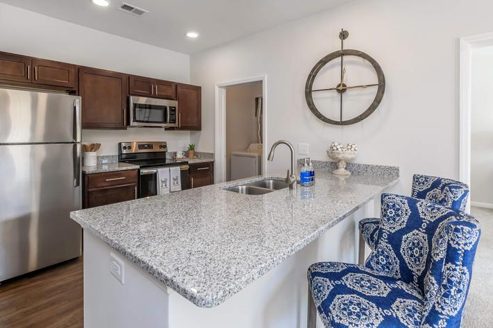 Spacious Kitchens Here At Riverstone Apartments At Long Shoals in Arden, North Carolina