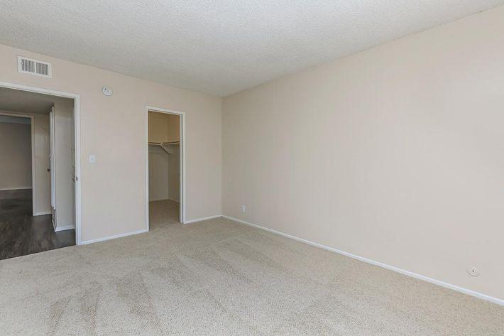 Carpeted bedroom with open walk-in closet door