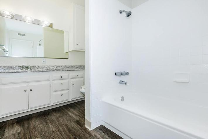 Unfurnished bathroom with wooden floors