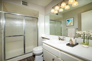 Chic bathrooms at Casa Hermosa in San Diego, California