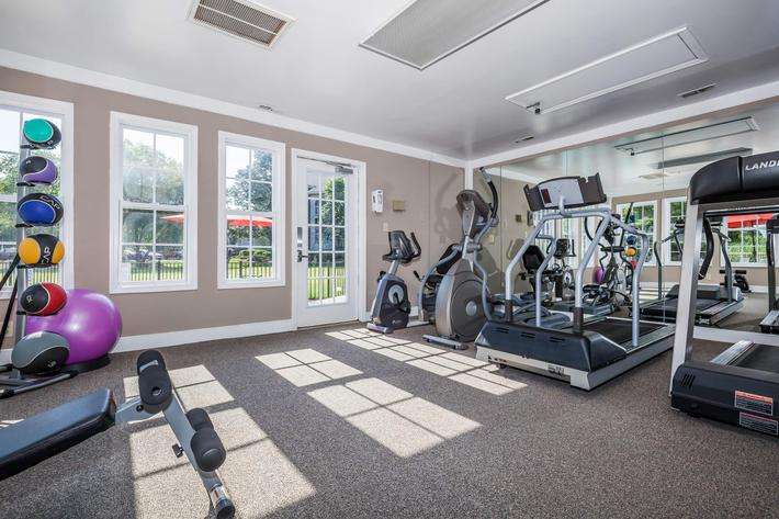 Stay fit in the fitness center at Gleneagle in Greenville, South Carolina.
