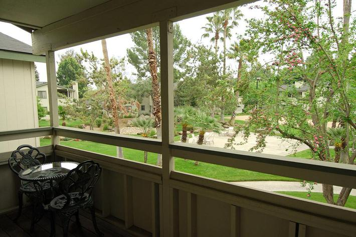 Palm Lakes provides a balcony-patio