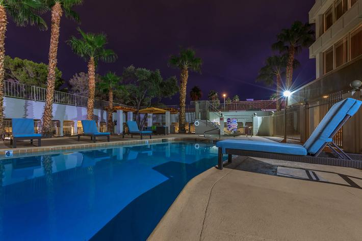 SHIMMERING SWIMMING POOL AT MARK 1 APARTMENTS IN LAS VEGAS
