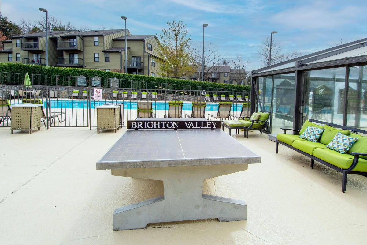 Pool deck with ping pong table
