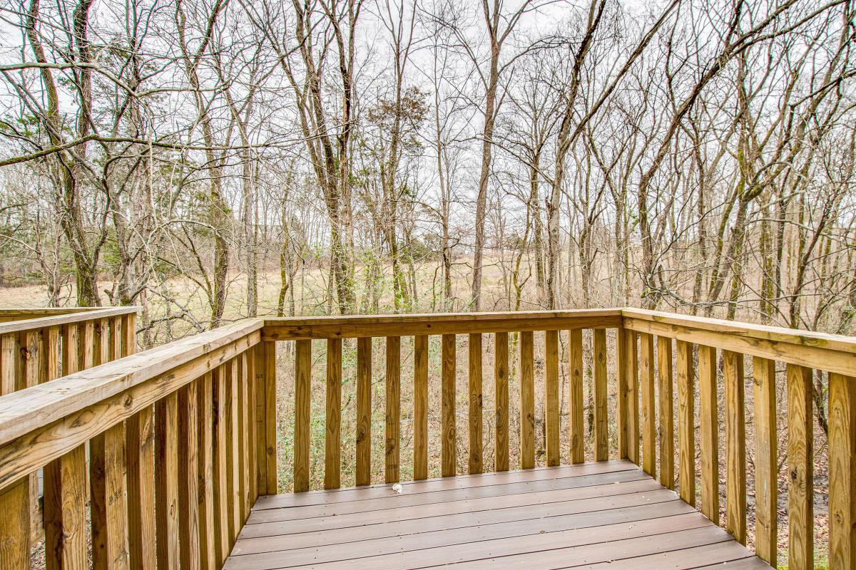Patio with wooded views