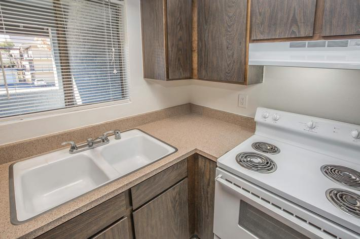 One Bed One Bath All-electric Kitchen at Las Palmas