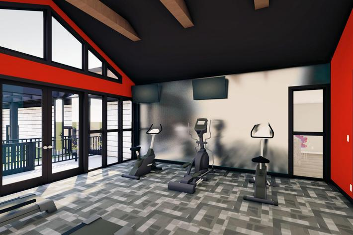 Fitness Center Mockup for Innovation Flats at Research Park