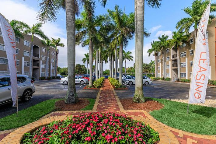 Beautiful landscaping at Belaire Tower Apartments Boca Raton, Florida.