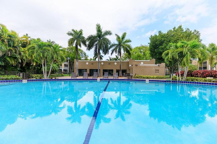 Shimmering swimming pool at Belaire Tower Apartments Boca Raton, Florida.