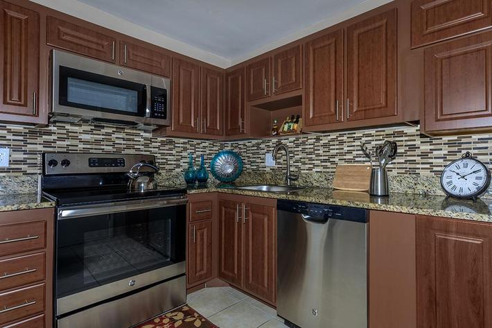 All-electric kitchens at Belaire Tower Apartments Boca Raton, Florida.