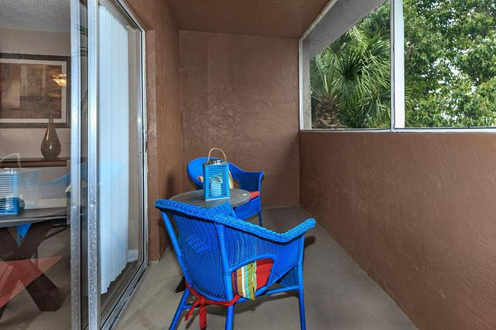 Personal balcony or patio at Belaire Tower Apartments Boca Raton, Florida.