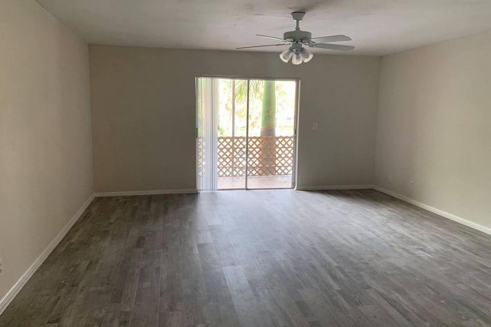 Vinyl plank flooring in the Camino Premium at Belaire Tower Apartments Boca Raton, Florida.