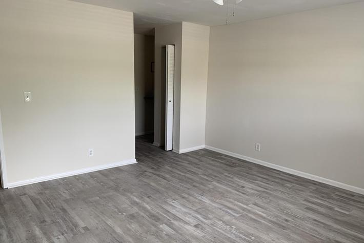 Vinyl plank flooring in the Camino Premium at Belaire Tower Apartments Boca Raton, Florida.