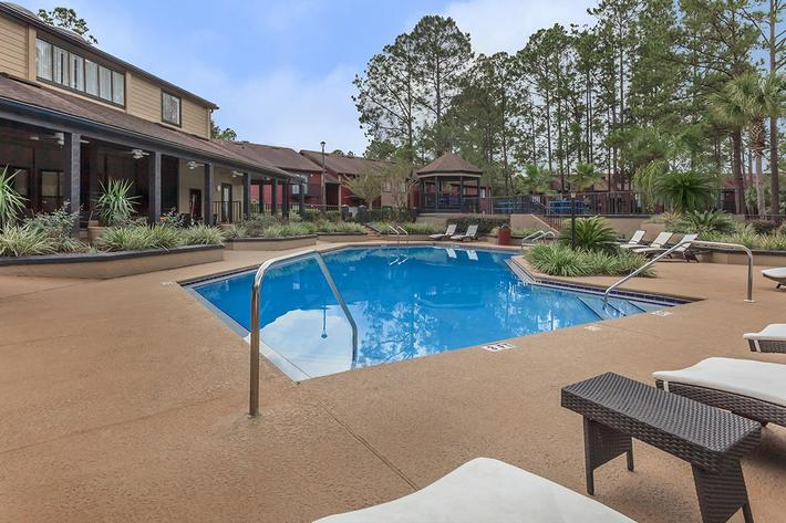 Shimmering swimming pool at Ansley at Harts Road in Jacksonville, Florida