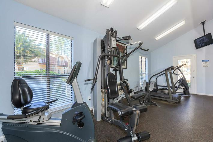 Fitness center here at Ansley at Harts Road in Jacksonville, Florida