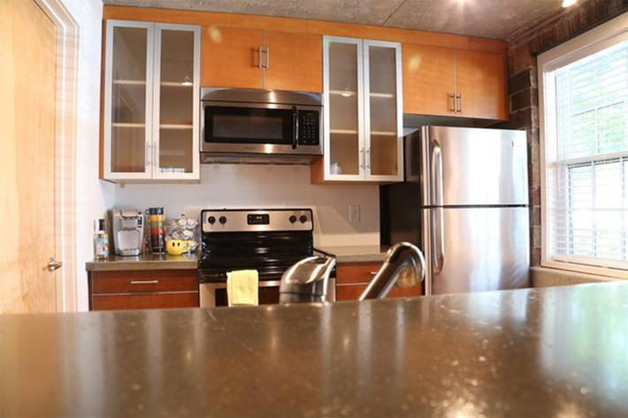 Stainless steel appliances at South Front In Wilmington, North Carolina.