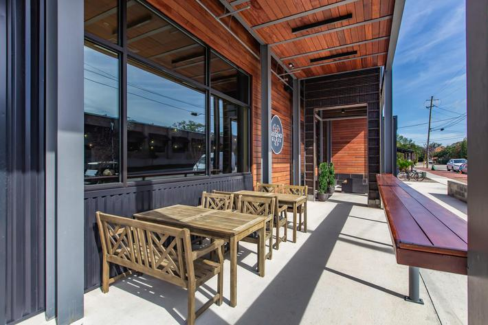 Outdoor seating at South Front In Wilmington, North Carolina.