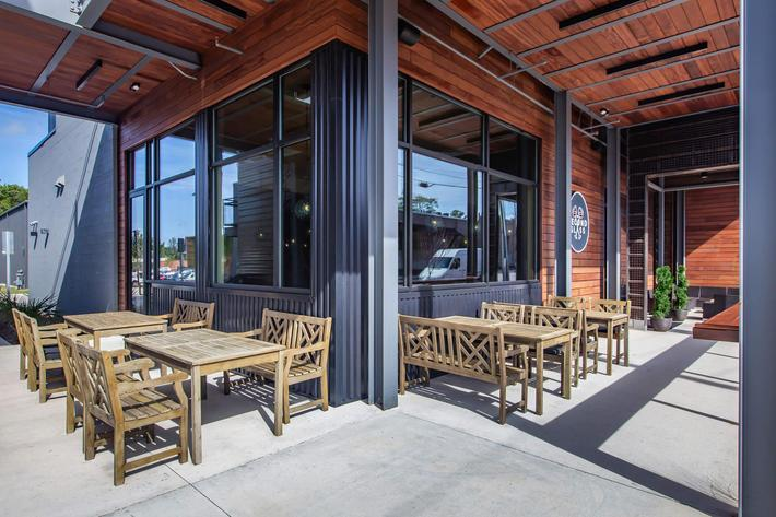 Soak up the sun with outdoor seating at South Front In Wilmington, North Carolina.