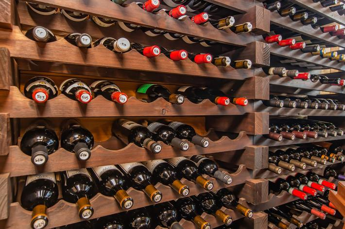 Wine racks at South Front In Wilmington, North Carolina.