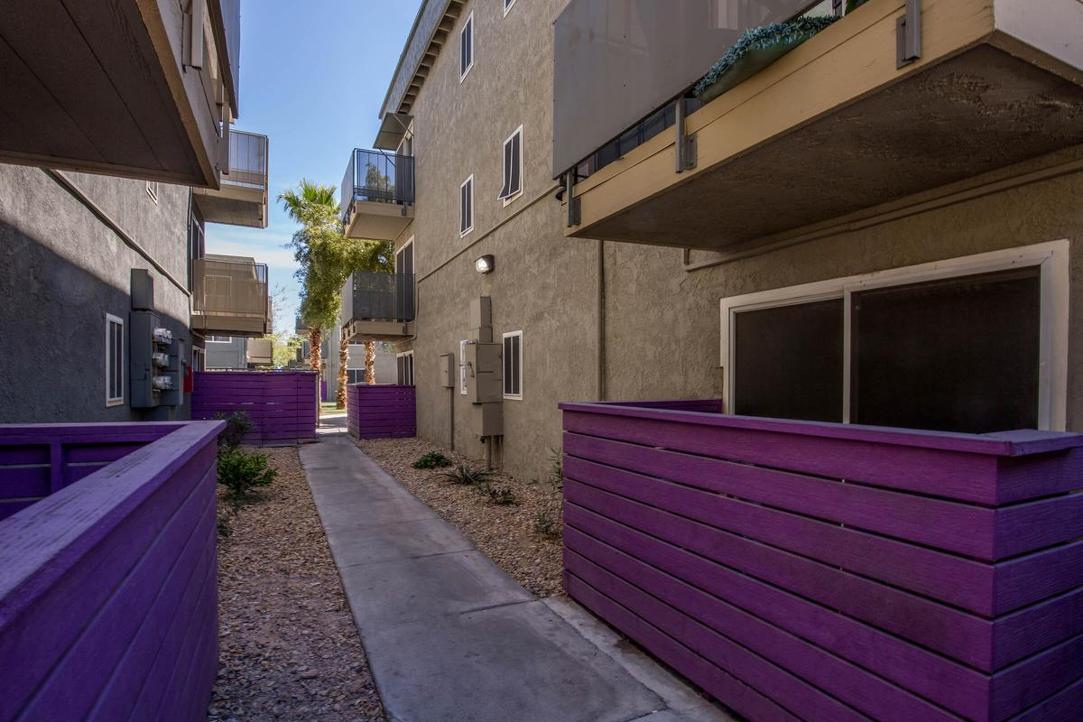 BALCONY OR PATIO WITH TWO BEDROOM FLOOR PLANS AT SKYLINE PARC IN LAS VEGAS, NEVADA