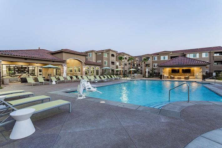 Shimmering swimming pool at The View at Horizon Ridge in Henderson, Nevada
