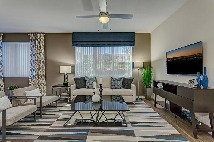 Living room at The View at Horizon Ridge in Henderson, Nevada